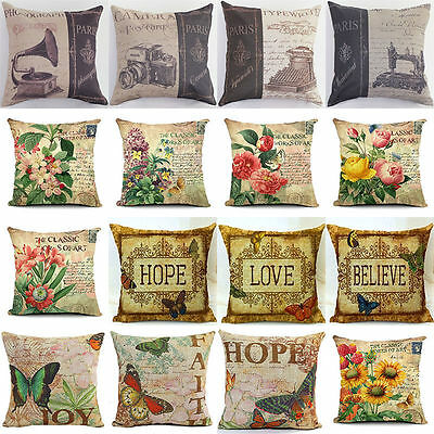 Vintage Butterfly & Flower Printing Cotton Linen Throw Pillow Case Cushion Cover