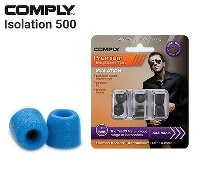 Comply Foam T-500 Isolation 3 Pairs In-Ear Earphone Tips Medium Blue SI