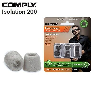 Comply Foam T-200 Isolation 3 Pairs In-Ear Earphone Tips Medium Platinum SI