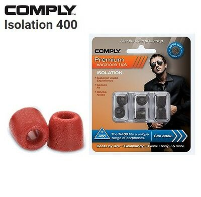 Comply Foam T-400 Isolation 3 Pairs In-Ear Earphone Tips Medium Red SI