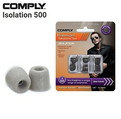 Comply Foam T-500 Isolation 3 Pairs In-Ear Earphone Tips Medium Platinum SI
