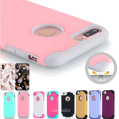 iPhone 8/7 Plus X Case Hybrid Shockproof Silicone Heavy Duty Hard Case Cover