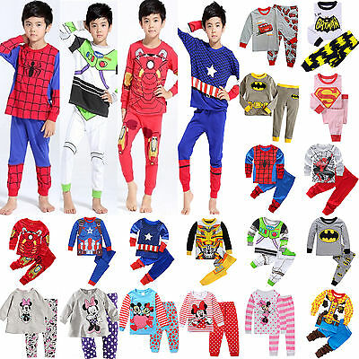2Pcs/Set Kids Toddler Boys Girls PJ Pajamas Sleepwear 1-8Y Loungewear Nightwear
