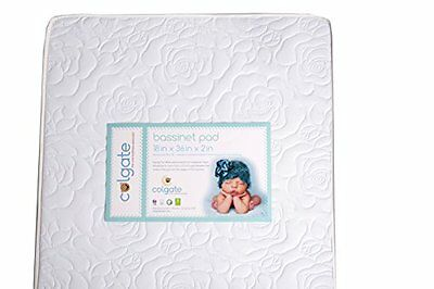 Colgate Bassinet Mattress Foam Pad With Waterproof White Quilted Cover Rectangul