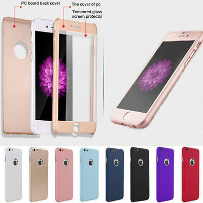 360° Full Hybrid Tempered Glass Film +Acrylic Hard Case Cover For iPhone Samsung