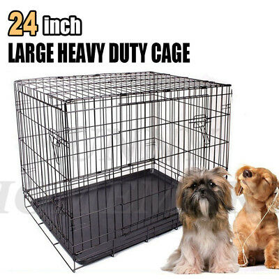 "24"" Small Collapsible Metal Pet Puppy Dog Cage Crate Kennel Cat Rabbit House"