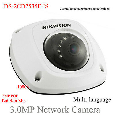 HIKVISION DS-2CD2535F-IS 3MP H.265 Audio POE Mic/Microphone Mini Dome IP Camera