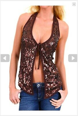 Top Canotta Donna Gilet MISS MISS A321 Lustrini e Paillettes Made in Italy S M L