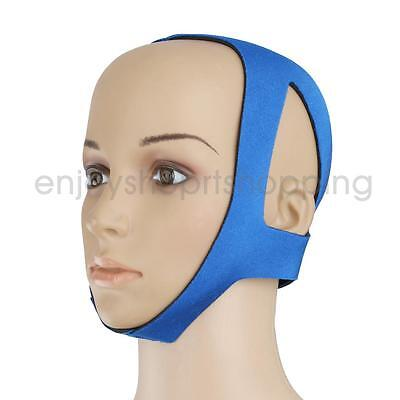 Anti Snore Sleep Apnea Stop Snoring Strap Jaw Solution Chin Support Blue