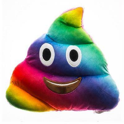 Rainbow Poo Poop Shaped Soft Plush 36cm Pillow Cushion Gay Pride Bedding