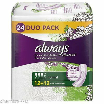 Always Discreet Incontinence Pads for Sensitive Bladder, Normal 24 Pads