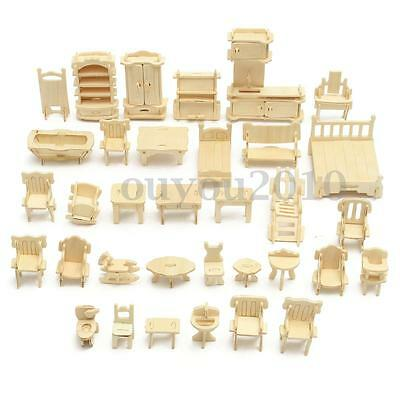 34pcs Wooden Dollhouse Miniature Furniture Puzzle Model Children Kids Play Toys