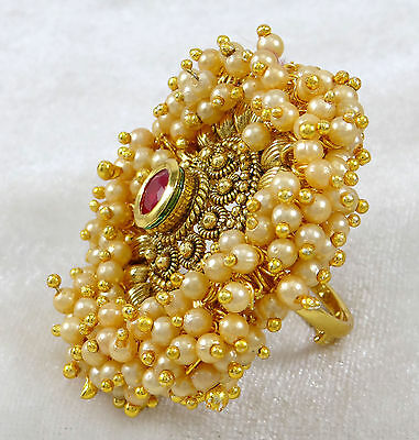 Traditional Indian Ethnic Bollywood Goldtone Adjustable Ring Bridal Jewelry
