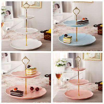 3 Tier Hardware Crown Cake Plate Stand Handle Fitting Wedding Party Gold ZY