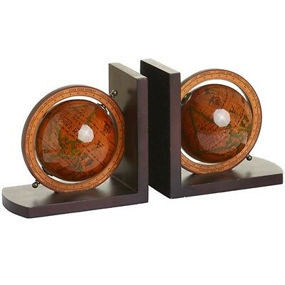 Pair Of Vintage Style Globe Bookends - Book Bookcase Accessory Home Interior