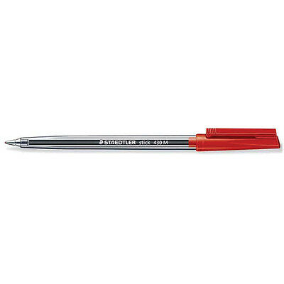 Staedtler 430 Ballpoint Stick Pen Medium - Red (Pack-10)