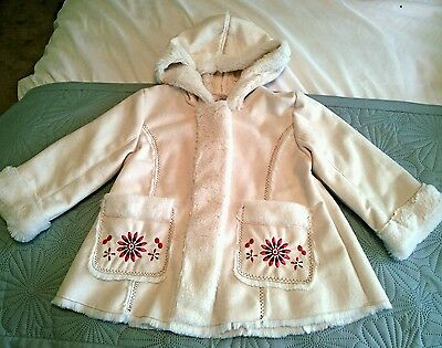 A New Faux Suede Embroidered Hooded Girls Coat age 1-18 m. See description