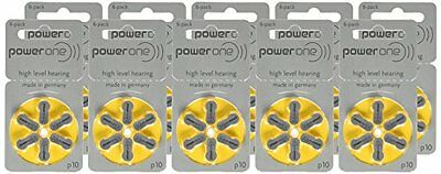 Powerone Hearing Aid Batteries Size 10 10 Packs Of 6 Cells Power One New