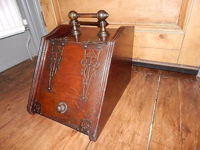 Antique Coal Scuttle Wooden Box With Metal Trim