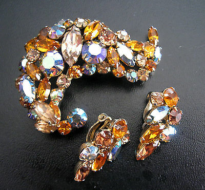 Vintage Quality  Amber Gold, Aurora Crystal Brooch & Earings Set