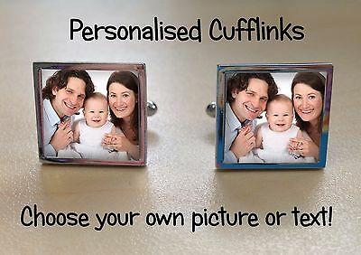 cufflinks (pair) personalised with any photo, image, logo or text. great gift!!