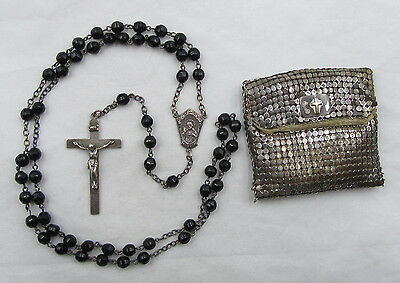 "† Vintage ""sacred Heart"" Signed Sterling & Black Rosary Necklace 26"" Case Mesh †"