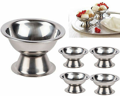 4x Ice Cream Sundae Stainless Steel Footed Appetizer Dessert Cocktail Fruit Pudd