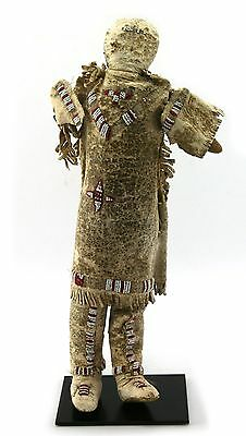 """Plains Beaded Doll with custom stand, c. 1890, 13.5"""" tall"""