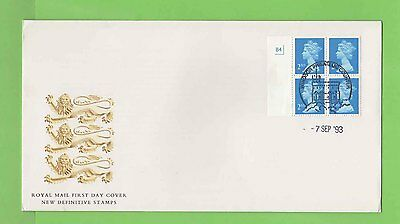 G.B. 1993 96p 4x2nd NVI Pl. No. booklet pane on Royal Mail u/a First Day Cover