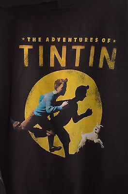 """Official  """"Adventures of Tintin"""" Hoodie Sweatshirt (By Fifth Sun) Extra Large"""
