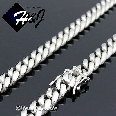 "18-40""MEN Stainless Steel 7x3mm Silver Miami Cuban Curb Link Chain Necklace*N154"