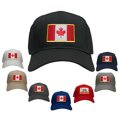 Canada Embroidered Flag Iron On Patch Gold Border Snapback Baseball Cap