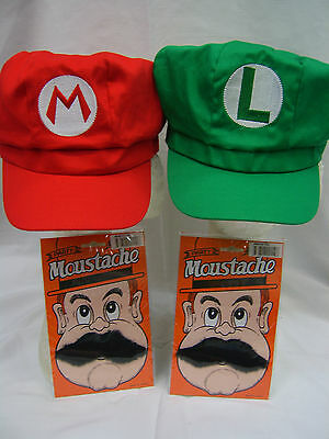 Super Mario Brothers Mario & Luigi Hat Moustache Adult Cosplay Anime Costume