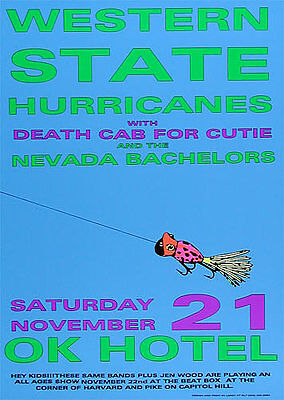 Early Death Cab for Cutie OK Hotel Seattle Washington 1998 Silkscreen Poster