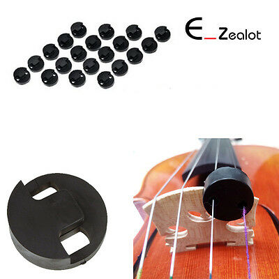 20X Acoustic Round Black Rubber Violin Mute Sourdine Accessories For Practice