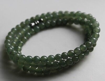 CERTIFIED Natural (A) Untreated Icy Green Jadeite JADE Round Beads Necklace