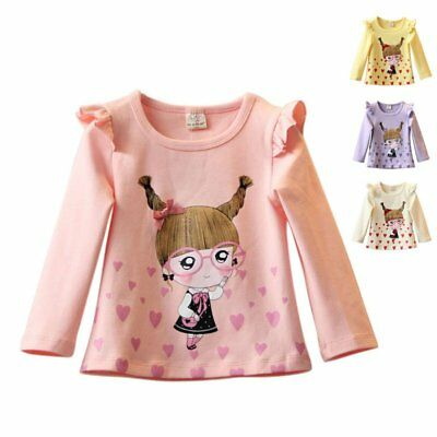 Fashion Baby Girls Kids Clothes Long Sleeve Printed Cotton Tops T-shirts 2-7Y