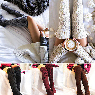 Women Girls Winter Warm Cable Knit Over knee Long Boot Thigh-High Socks Leggings