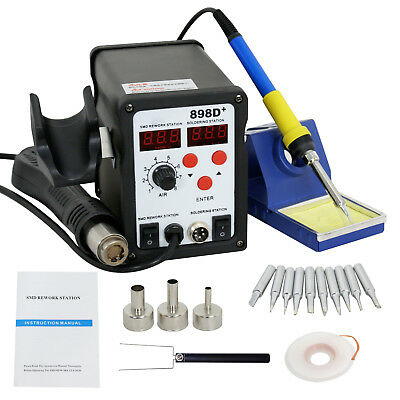 Latest 2in1 SMD Soldering Rework Station Hot Air & Iron 898D+ 11Tips ESD PLCC