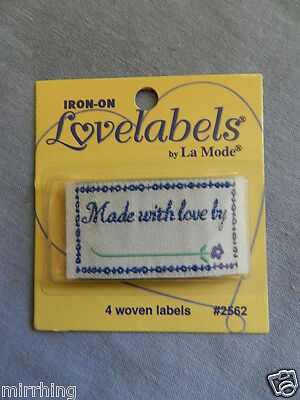 "Lovelabels ""Made with love by ............"" -  Iron-on Labels"