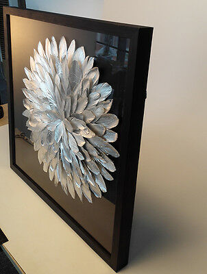 Feather Modern wall art  framed 3D shadow box  wall decore no oil painting