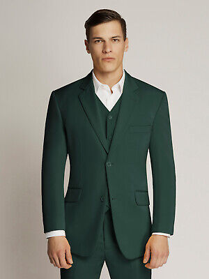 Men's Dark Green Two-Button Microfibre Coloured Suit By Ambassador