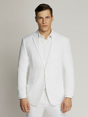 Men's White Two-Button Microfibre Coloured Suit By Ambassador