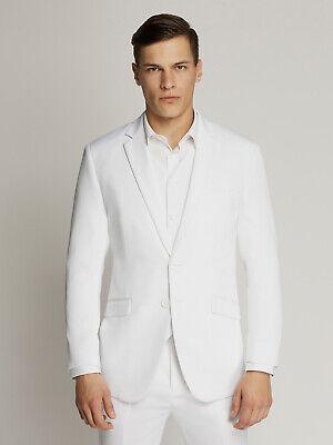 Men's White Two-Button Microfibre Coloured Suit By Ambassador