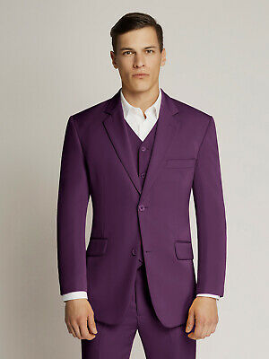 Men's Purple Two-Button Microfibre Coloured Suit By Ambassador