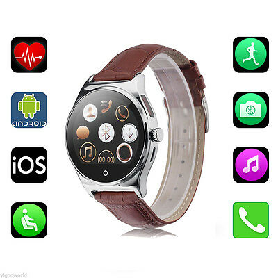 Bluetooth Smart Watch with PU Leather Strap Heart Rate Monitor For IOS/Android