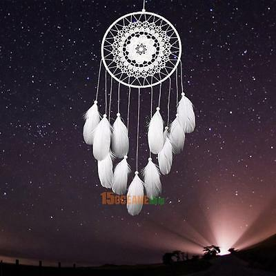 White Handmade Lace Dream Catcher Feather Bead Hanging Decoration Ornament