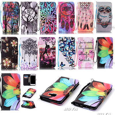 IIDA For Samsung Phone Case PU Leather Magnetic Flip Stand Wallet Cover+Strap