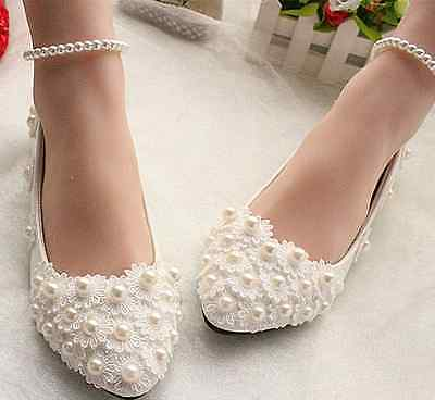 White lace Wedding shoes pearls ankle trap Bridal flats low high heels size 4-11