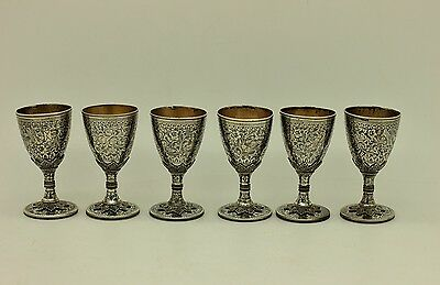 Antique Original Perfect Silver Niello Amazing Armenian Ottoman Cup Set
